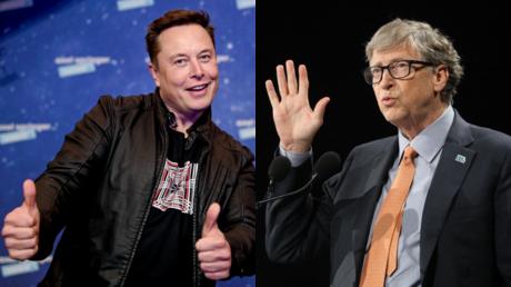 (L) Elon Musk ©️ AFP / Britta Pedersen ; (R) Bill Gates ©️ AFP / Ludovic MARIN.