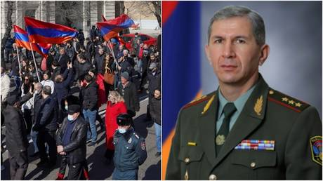 A rally demanding the resignation of Armenian Prime Minister Nikol Pashinyan in Yerevan. © Reuters / Artem Mikryukov; Chief of the General Staff of Armenian Armed Forces, Onik Gasparyan © Armenia's Defense Ministry