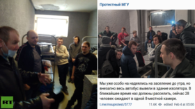 Moscow officials deny conditions at post-protest detention centers are overcrowded as journalist live-blogs time behind bars