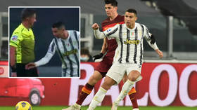 Watch out, ref: Cristiano Ronaldo bags for Juventus against Roma - then grabs for official's arm as he asks to check goal (VIDEO)