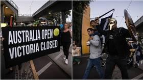 Furious anti-lockdown protestors descend on Australian Open ahead of Victoria's 'circuit-breaker' Covid restrictions (VIDEO)