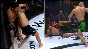 'Insane!' Russian fighter Yunusov FLATLINES opponent with spinning elbow knockout from unlikely position (VIDEO)