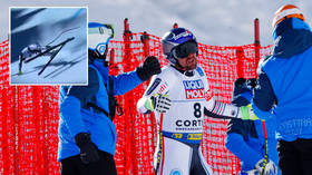 'One of the luckiest escapes I've ever seen': Olympic skiier Maxence Muzaton dodges disaster with incredible spin at 70mph (VIDEO)