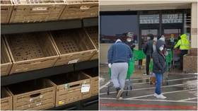 Empty shelves & long lines outside stores as Texas runs out of food amid deadly cold snap (VIDEO)