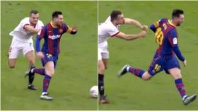 'What was he trying to do to him?!' Fans mock Sevilla star as Messi gives him runaround in 2-0 win for Barca (VIDEO)