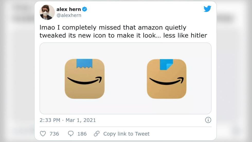 Amazon revises new app logo after users liken it to Adolf Hitler's smirk
