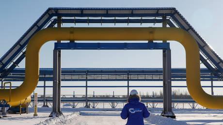 An employee walks past a part of Gazprom's Power Of Siberia gas pipeline in Amur region, Russia