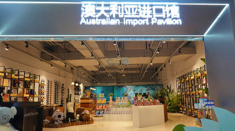 SHANGHAI, CHINA - NOVEMBER 4, 2020 - Australia's Import Pavilion at the Greenfield Global Commodities Trading Port, Shanghai, China. © Getty Images  / Barcroft Studios