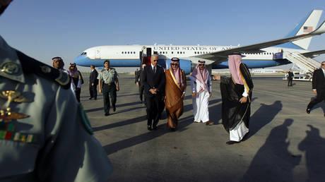 FILE PHOTO: Joe Biden at Riyadh airbase