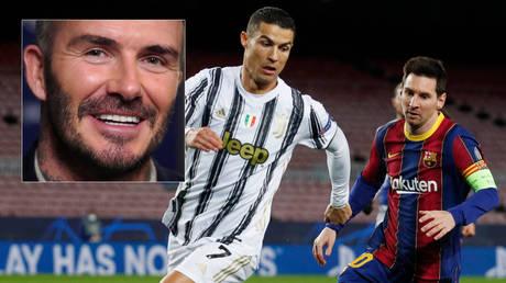 Football icon David Beckham (left) could unite Cristiano Ronaldo (center) and Lionel Messi at Inter Miami © Carlo Allegri / Reuters | © Albert Gea / Reuters