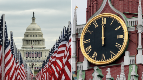 (L) The Capitol building is surrounded by American flags on the National Mall  ©️ AFP / STEPHANIE KEITH; (R) Spasskaya Tower, Kremlin ©️ RIA