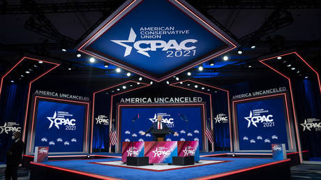 Former President Donald J Trump speaks during the final day of the Conservative Political Action Conference CPAC held at the Hyatt Regency Orlando on Sunday, Feb 28, 2021 in Orlando, FL.