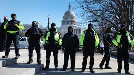 FILE PHOTO. Police officers outside the US Capitol