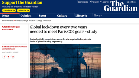 Lockdowns or the planet gets it? Guardian 'accidentally' suggests Covid-like shutdowns every 2 years to meet Paris climate goals - rt