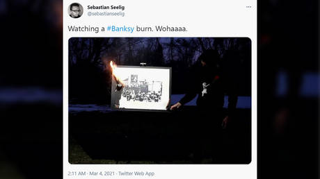 Is that for real? Group BURNS Banksy artwork to make its existence completely digital (VIDEO) - rt