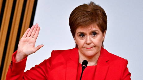 Scotland's First Minister Nicola Sturgeon gestures as she gives evidence to a Scottish Parliament committee examining the handling of harassment allegations against former First Minister of Scotland Alex Salmond, in Edinburgh, Scotland, Britain March 3, 2021