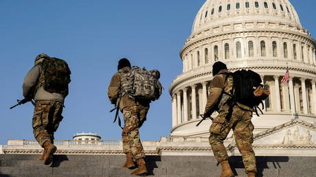 Members of the National Guard patrol at the U.S. Capitol after police warned that a militia group might try to attack the U.S. Capitol in Washington, U.S., March 4, 2021.