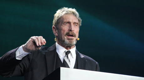 FILE PHOTO: John McAfee makes speech during the China Internet Security Conference on August 16, 2016 in Beijing, China.