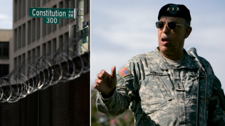 FILE PHOTOS: (L) Razor wire and fencing surrounds the US Capitol Building; (R) Lt. General Russel Honore