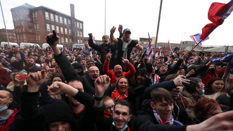 Rangers fans gathered to celebrate outside Ibrox. © PA Images via Getty Images