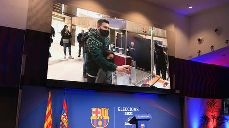 Messi was seen casting his vote on Sunday. © AFP