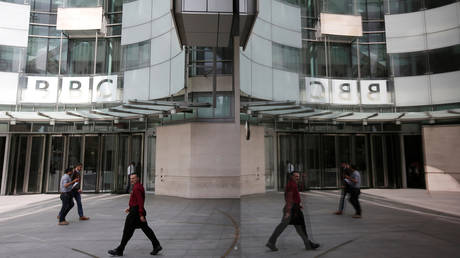 FILE PHOTO: The main entrance to the BBC headquarters and studios in Portland Place, London, Britain, July 16, 2015