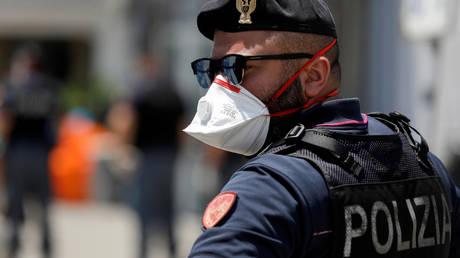 Italian police officer in Sicily, July 6, 2020