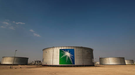 Branded oil tanks at Saudi Aramco oil facility in Abqaiq, Saudi Arabia