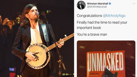 (L) Winston Marshall © Steve Jennings / GETTY IMAGES NORTH AMERICA / Getty Images via AFP; (R) Screenshot © Twitter / @MrWinMarshall