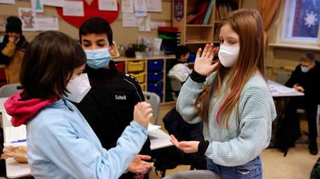 Classes for children of critical workers, amid the coronavirus disease lockdown in Berlin