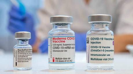 FILE PHOTO. Used vials of the Pfizer-BioNTech, Moderna and AstraZeneca vaccines. ©TT News Agency / Johan Nilsson via REUTERS