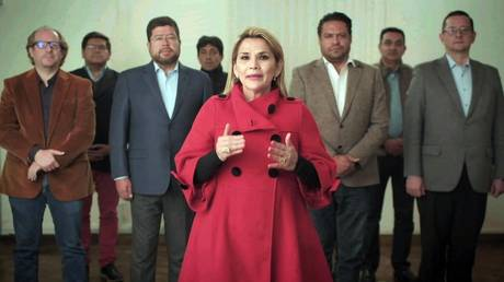 FILE PHOTO: 'Interim president' of Bolivia, Jeanine Anez, announces her withdrawal from the presidential race a month before the elections in La Paz, Bolivia on September 17, 2020.