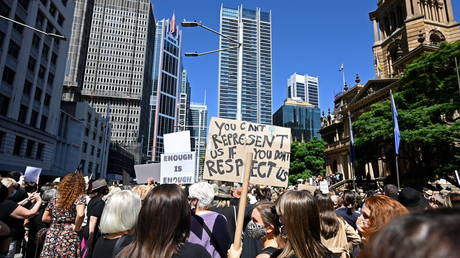 Protesters rally outside Town Hall as part of the Women's March 4 Justice rally in Sydney, Australia on March 15, 2021.