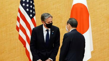 US Secretary of State Antony Blinken meets with Japanese Prime Minister Yoshihide Suga at the Prime Minister's office in Tokyo, Japan, (FILE PHOTO) © Eugene Hoshiko/Pool via REUTERS