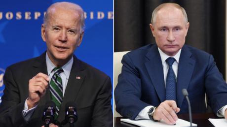 US President Joe Biden. © Getty Images / Alex Wong / Staff; Russian President Vladimir Putin.© Sputnik/Aleksey Nikolskyi