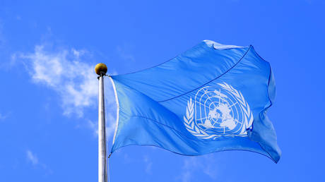 The United Nations flag is seen during the 74th session of the United Nations General Assembly