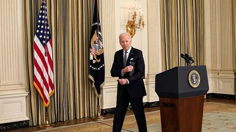 FILE PHOTO: US President Joe Biden in the State Dining Room at the White House in Washington, US, March 15, 2021