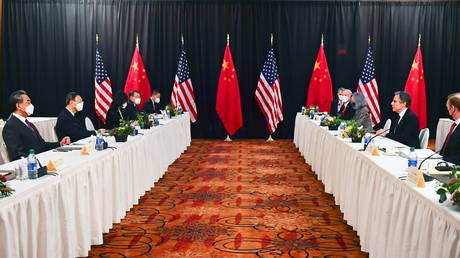 US Secretary of State Antony Blinken (2nd R) speaks at the opening session of US-China talks, in Anchorage, Alaska, March 18, 2021.