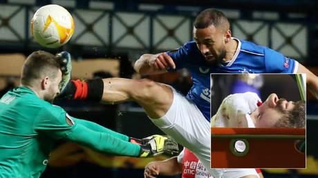 Slavia Prague's Ondrej Kolar (left) and Rangers' Kemar Roofe clash in the UEFA Europa League © Andrew Milligan / Reuters
