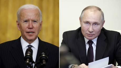 (L) US President Joe Biden ©️ REUTERS / Carlos Barria; (R) Russian President Vladimir Putin ©️ Sputnik / Alexei Druzhinin / Kremlin via REUTERS