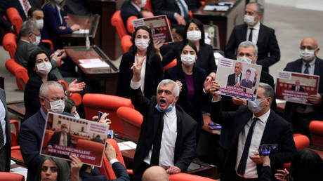 Pro-Kurdish Peoples' Democratic Party (HDP) lawmaker Omer Gergerlioglu holds a protest after being stripped of MP status. Ankara, Turkey March 17, 2021.