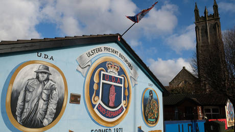 Loyalists paramilitary (U.D.A and U.F.F) murals seen near the old shipyard on the Newtownards Road on October 29, 2019 in East Belfast, United Kingdom.