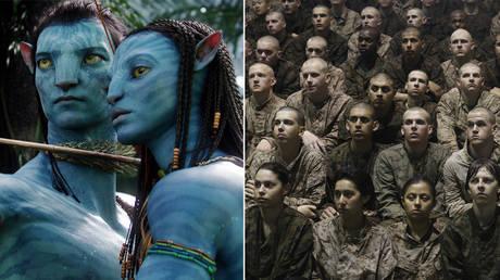 (L) 'Avatar' (2009) Dir: James Cameron © 20th Century Fox; (R)  Female and male Marine recruits © Scott Olson / Getty Images
