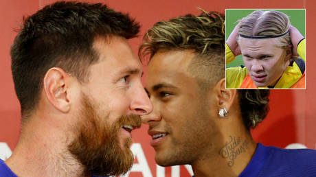 Lionel Messi (left) could be joined by Neymar and Erling Haaland (inset) at Barcelona © Kim Kyung-Hoon © Friedemann Vogel
