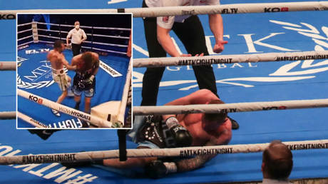 Maxi Hughes beat Paul Hyland in a bizarre end to their boxing showdown © Twitter / streetfitebncho | © MTK Global