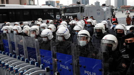 Riot police officers stand guard in Istanbul, Turkey March 17, 2021.