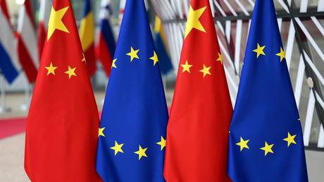 Flags representing China and the EU