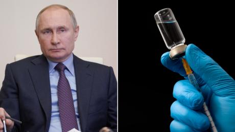 (L) Russian President Vladimir Putin ©️ SPUTNIK; (R) Syringe and vaccine Postol ©️ Getty Images / Moussa81