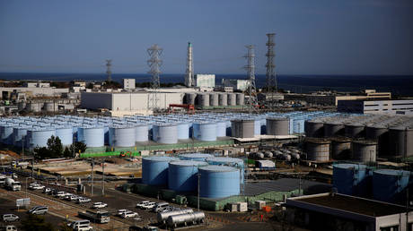 The storage tanks for water are seen at the tsunami-crippled Fukushima Daiichi nuclear power plant in Japan on March 1, 2021.