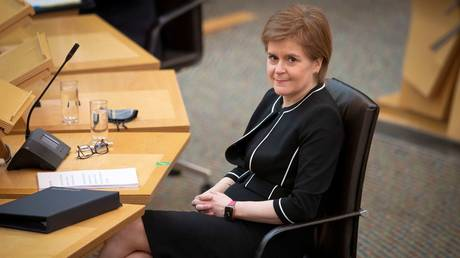 Scotland's First Minister Nicola Sturgeon at Scottish Parliament in Holyrood, Edinburgh, Scotland, March 23, 2021